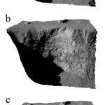 fig_6  Viste tridimensionali del crinale Aswan che mostrano il suo profilo prima (a) e dopo (b) il crollo. Il pannello c indica le dimensioni del blocco di materiale che si è staccato. Crediti: ESA/Rosetta/MPS for OSIRIS Team